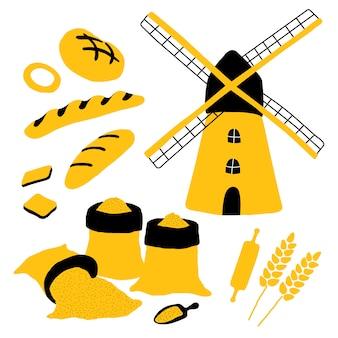Boulangerie avec pain, moulin, farine, blé, pain, baguette, rouleau à pâtisserie.