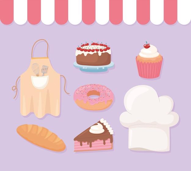 Boulangerie pâtisserie donut gâteau cupcake donut chapeau et tablier illustration