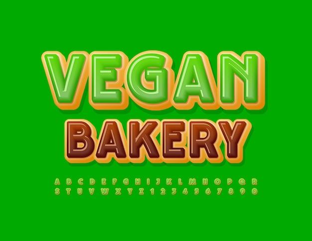Boulangerie végétalienne polices émaillées vertes délicieuses lettres et chiffres de l'alphabet en beignet