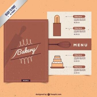 Boulangerie vintage modèle de menu