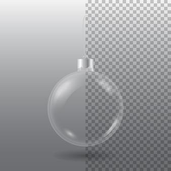 Boule d'arbre de noël transparente avec oeillet isolé sur gris damier