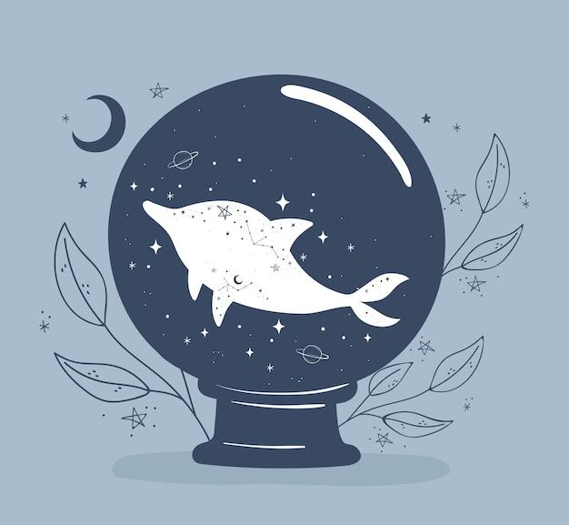 Boule d & # 39; astrologie avec dauphin