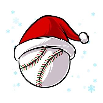 Boule de baseball de noël avec chapeau de père noël