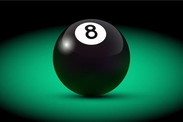 Boule de billard réaliste noir huit sur table verte.