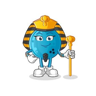 Boule de bowling dessin animé egypte antique. mascotte de dessin animé