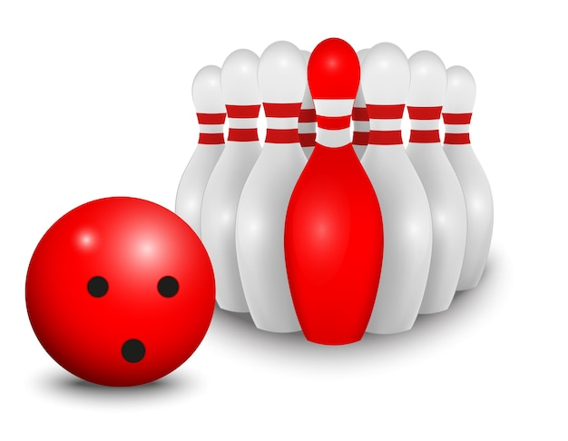 Boule de bowling et épingle. concept d'entreprise