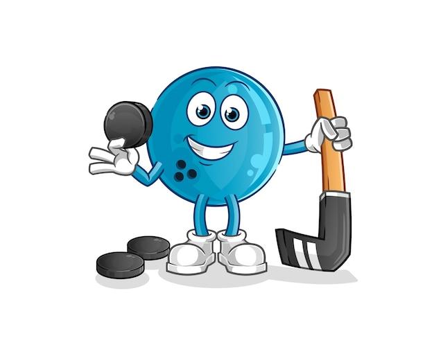 Boule de bowling jouant au hockey. personnage de dessin animé