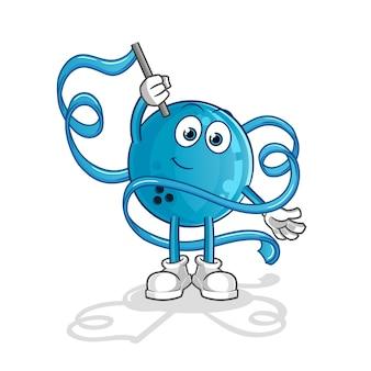 Boule de bowling mascotte de gymnastique rythmique. dessin animé