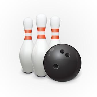 Boule de bowling et quilles