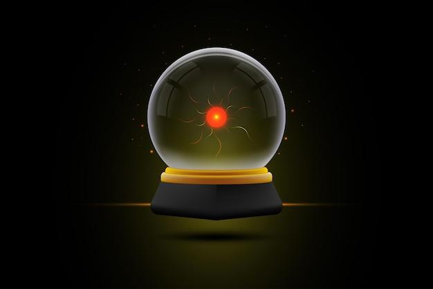Boule de cristal ou boule magique flottant avec une lumière scintillante