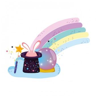 Boule de cristal de conte de fées avec lapin chapeau et oreilles