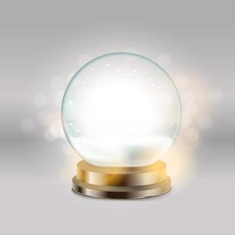 Boule de cristal avec illustration vectorielle de bonhomme de neige. illustration de boule de neige de noël