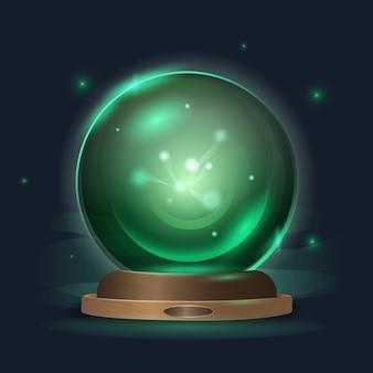 Boule de cristal magique dans un éclat d'émeraude mystique
