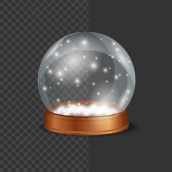 Boule de cristal neige sur fond transparent sphère de verre avec des flocons de neige