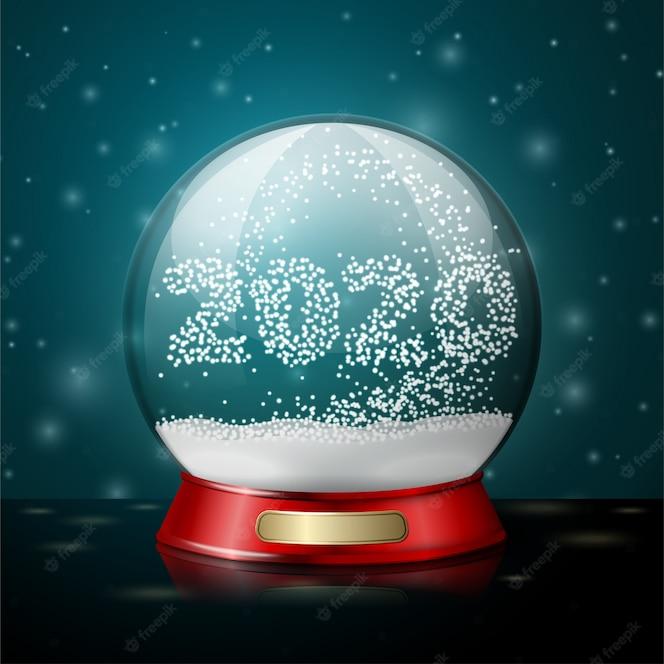 Boule de cristal vecteur réaliste transparent avec des flocons de neige en forme de 2020 année