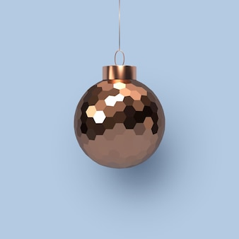 Boule de cuivre brillante de noël 3d avec motif géométrique. élément décoratif pour les vacances du nouvel an. accroché sur fond bleu. illustration vectorielle.