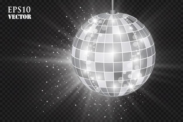 Boule disco argent abstrait.