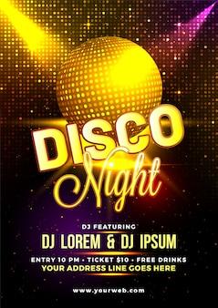 Boule disco doré brillant sur fond brillant, flyer night disco, affiche ou modèle de fête.