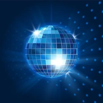Boule disco miroir de vecteur. objet de boîte de nuit, vie nocturne et lumineux et fête. illustration vectorielle