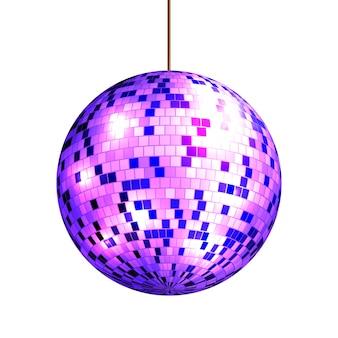 Boule disco avec rayons lumineux isolé sur fond blanc,