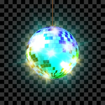Boule disco avec rayons lumineux isolés sur fond transparent.
