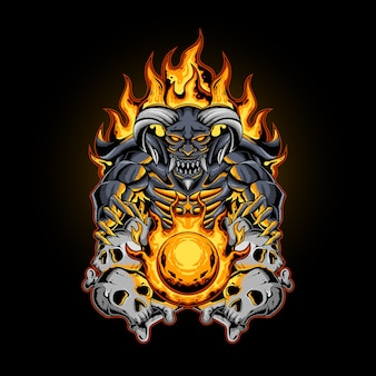 La boule de feu du diable avec os de crâne