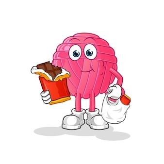 Boule de fil mange la mascotte de chocolat. dessin animé
