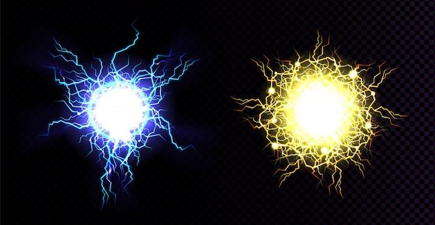 Boule de foudre, impact de frappe électrique.