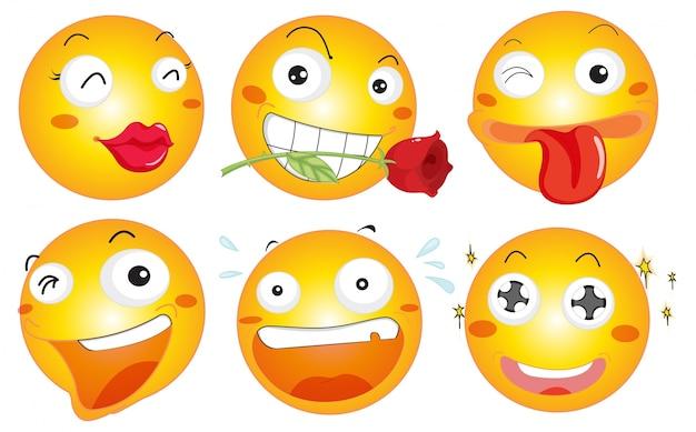 Boule jaune avec différentes expressions faciales