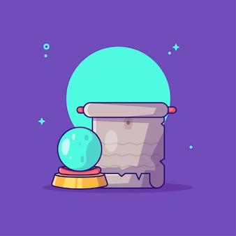 Boule magique avec dessin animé de défilement