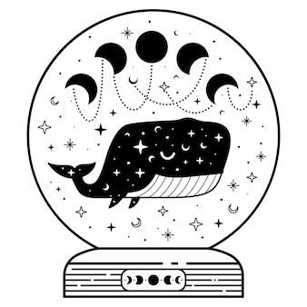 Boule magique mystique avec phases de baleine et de lune célestes