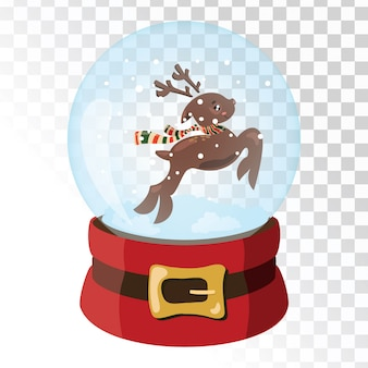 Boule magique en verre de noël avec cerf du père noël. sphère de verre transparente avec des flocons de neige.
