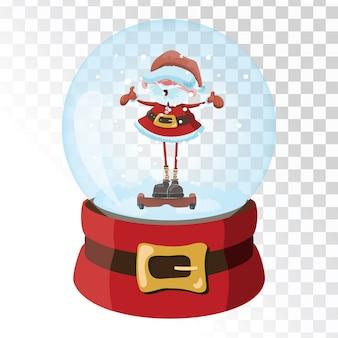 Boule magique en verre de noël avec le père noël. sphère de verre transparente avec des flocons de neige.
