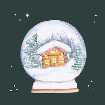 Boule de neige aquarelle. vecteur