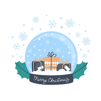 Boule à neige avec cadeaux et flocons de neige