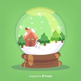Boule de neige de noël cabine dessiné à la main