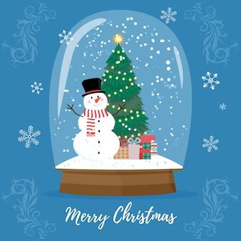 Boule à neige de noël avec chute de neige et arbre de noël, illustration vectorielle. globe en verre magique de vacances d'hiver. boule à neige en cristal de joyeux noël, jouet magique de carte de voeux. cadeau maison brillant.