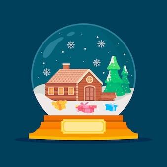 Boule de neige de noël design plat