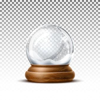 Boule de neige de noël réaliste sur fond transparent.