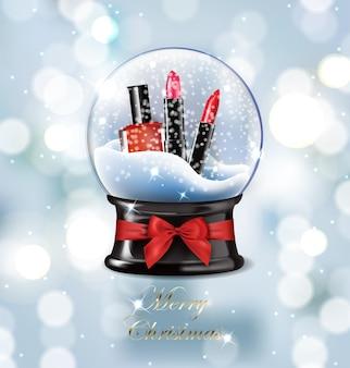 Boule à neige de noël réaliste d'illustration vectorielle belle avec des articles de maquillage rouge à lèvres rouge