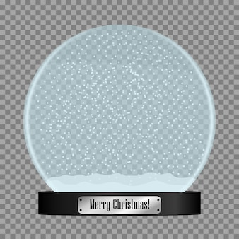 Boule à neige en verre boule de boule à neige réaliste avec des flocons de neige volants isolés sur fond transparent