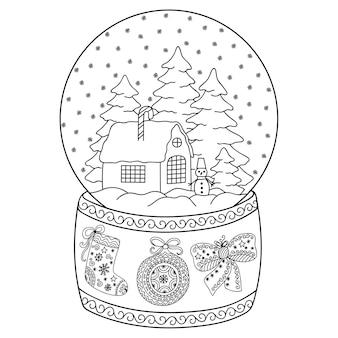 Boule à neige en verre jouet avec maison. page de livre de coloriage