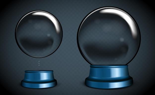 Boule à neige vide de vecteur. sphère en verre transparent blanc sur pied avec reflets et reflets.