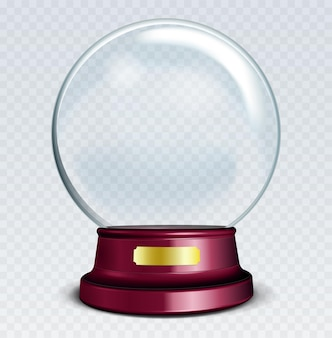 Boule à neige vide de vecteur. sphère en verre transparent blanc sur support avec enseigne en métal avec éclats et reflets.