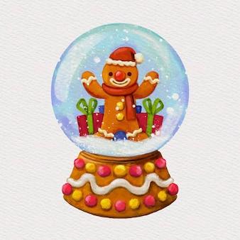 Boule de noël aquarelle boule de neige