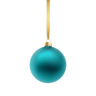 Boule de noël bleue, isolée sur fond blanc.
