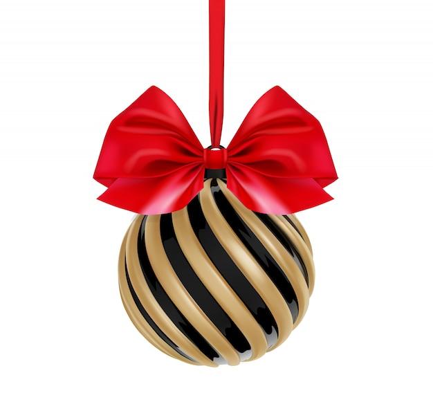 Boule de noël en couleur noir et or avec un arc et un ruban rouges