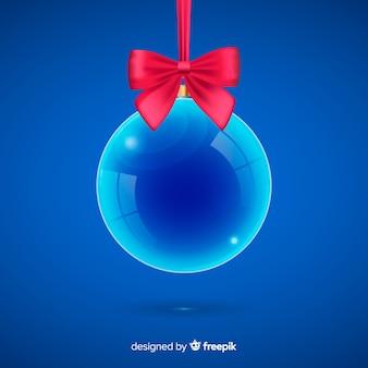Boule de noel en cristal bleu