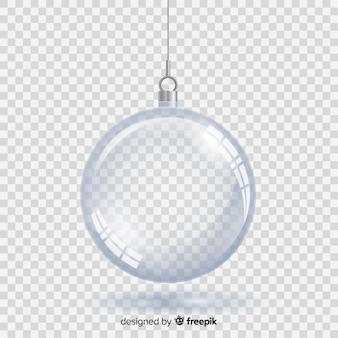 Boule de noël en cristal avec fond transparent