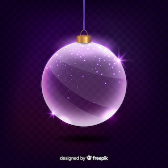 Boule de noël en cristal violet